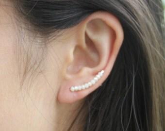 Ear Climber, Ear Crawler, Ear Jacket, Ear Sweep, with Pearly Faceted Glass Beads, Silver Earring, Ear Wrap, Fake Piercing, Single Earring