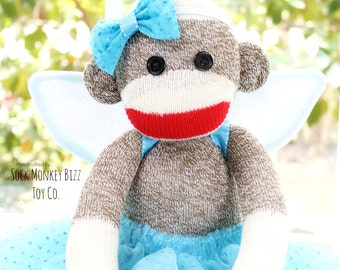 Sock Monkey Fairy Ballerina, Handmade Baby Doll Plush