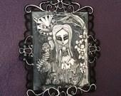 Spooky Alice in Wonderland Pop Surreal Original painting Acrylic 16x22