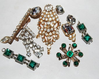 Sale Rhinestone Jewelry Lot Crafts Harvest Green Broken Destash Vintage