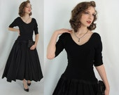 Vintage Fifties Dress - 1950s Black Party Dress - 50s Dress with Full Skirt - XS 50s Party Dress - XS Fit and Flare Dress