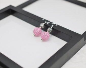 Pink Floral Earrings, Pink Earrings, Gardener Gift, Gardening Gift, Lucite Earrings, Light Pink, Drop Earrings, Flower Earrings, For Her