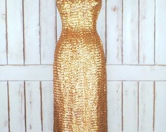60s vintage gold sequin maxi wiggle dress/bombshell sequins long evening dress