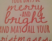 Letterpress Christmas Cards .... Merry and Bright Cheery Red