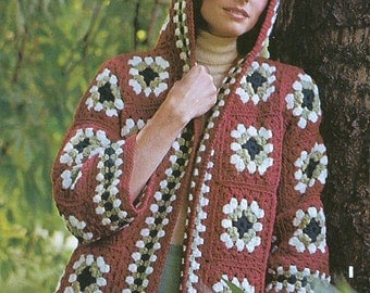 Jacket/Sweater Crochet Pattern-Hooded Jacket Cardigan Crochet Pattern- Instant download, Ladies Hobo Jacket, Granny Square Sweater, PDF