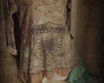 Boho  Gypsy Shabby Tunic. Prairie chic. Rustic Woodland Mori Girl. Altered Fashion. Tattered Antique laces ruffles ribbons.lagenlook. Medium