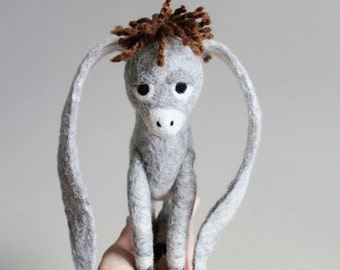 Nestor - The Long-Eared Christmas Donkey. Art Toy. Standing Felted Stuffed. grey gray. MADE TO ORDER