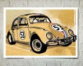 Car Art, Volkswagen Beetle, Herbie the Love Bug, VW Beetle, Race Car Wall Art, Car gift, Auto Art, Car Art Print, Rustic Race Car Decor