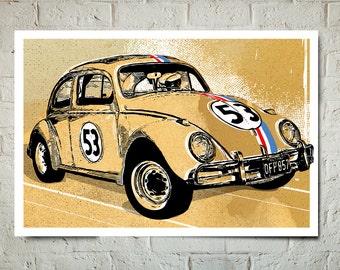 Car Art - Volkswagen Beetle, Herbie the Love Bug - Auto Art, VW Beetle, Car gift, Car Art Print, Man Cave Art, Garage Art, Automotive Decor