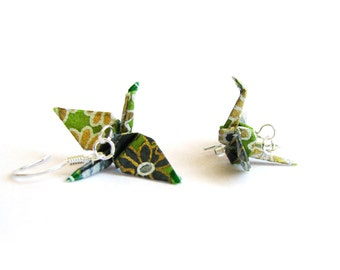 Origami Crane Earrings Olive and Grey