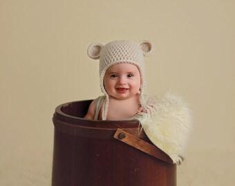 NEWBORN Hat, Baby Teddy Bear Hat, Baby Boy Hat, Baby Girl Hat, Vanilla/Beige Hat, Ears. Newborn Photo Props. Shower Gift, Kids, Handmade Hat
