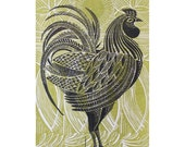 Green Cockerel original linocut print