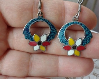 Sterling silver and turquoise vintage flower earrings from Mexico taxico