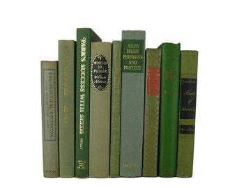 Green  Vintage Books, Wedding Decor, Home Decor, Vintage Books, Decorative books, old books, library decor, stack of books, Bookshelf Decor