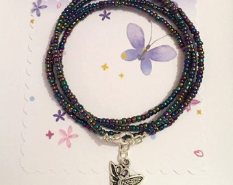 Butterfly wrap bracelet, butterfly charm, proceeds to charity