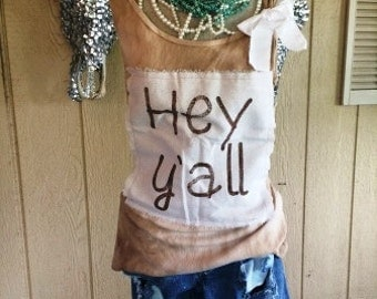 Hey Y'all Tank Top Shabby Chic Rodeo Country Southern Western Sayings Custom Unique