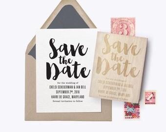 """Custom Save the Date Rubber Stamp """"Big Script"""""""