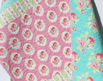 Girl Quilt, Toddler Bedding, Crib Blanket, Roses Tanya Whelan Lola, Pink Aqua Yellow Green, Nursery Decor, Flowers Shabby Chic Cottage