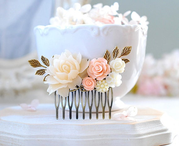 Bridal Hair Comb Peach Wedding Hair Accessory, Blush Wedding Comb, Peach Pink Rose Flower Antiqued Gold Leaf Collage Comb, Bridesmaid Gift