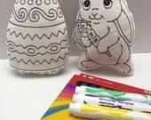 Easter Coloring Stuffies, Easter Basket Fillers, Easter Basket Stuffers, Stuffed Easter Bunny, Colored Easter Eggs, Easter Favors