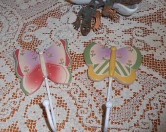 Two Butterfly Wall Hooks