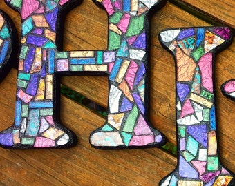 """8"""" Tall - Custom Mixed Media Mosaic LETTERS /INITIALS /NAME - Multicolored Van Gogh Glass Example - Order 8"""" Size Letters From This Listing"""