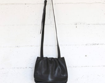 black leather bag, purse, small, long strap, cross body 90's minimal bags purses satchel