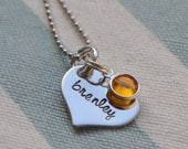 Tiny Heart Hand Stamped with Name and Birthstone Cyrstal - Mom - Grandmother - Sister - Tweens - Wife - Girlfriend - Best Friends - New Mom