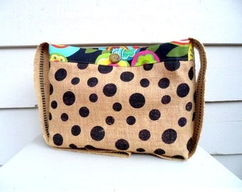 Knitting or Messenger Bag - Funky Tropical Floral and Polka Dot Burlap Cross Body Bag with Jute Strap and Lime/Yellow/Hot Pink/Teal  Lining