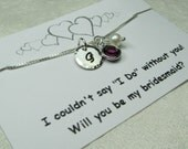 Will You Be My Bridesmaid Gift Personalized Necklace Initial Necklace Bridesmaid Proposal Card Bridesmaid Jewelry Bridesmaid Necklace