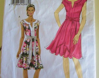 Vogue Dress Pattern V8553 Very Easy Sz 14 16 18 20 Cap Sleeve Flirty Skirt for Two Way Stretch Knits