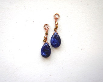 Night Sky Sodalite with Brass - Interchangeable Dangles for Ear Wires or Hoops / Midnight Blue Navy Earrings Wire Wrapped, Wanderlust
