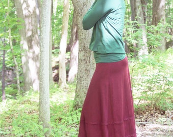 Organic Clothing Terrace Skirt Long Maxi Skirt Organic Cotton Bamboo Womens Clothing Hippie Woodland Layered Embroidered Skirt Made to Order