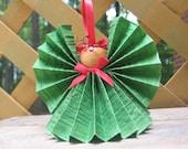 Green Angel Christmas Ornament,Paper Ribbon Angel, Christmas Ornament, Red Green Holiday Angel, Christmas Decoration, Angel Decor