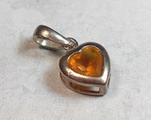 Sterling Silver Charm, Vintage Charm, Heart Charm, Sterling Heart, Cubic Zirconia CZ, Yellow Heart, Yellow Charm, with Bail, Citrine Yellow