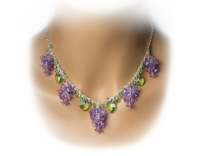 Lilac Flower Necklace, Swarovski Crystal, Purple Lilac Green Leaf Easter Spring Silver Jewelry, Cascading Lilac Clusters, Mother's Day Gift