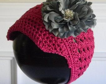 """Pink Magenta Crocheted Newsboy Hat for 4 - 8 yr w/ 4.5"""" Grey Silk Flower w/ Pearl Rhinestone Center on Alligator Clip Fall Hair Accessory"""