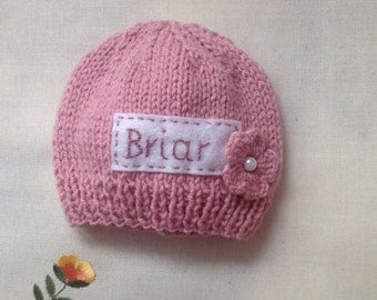 Newborn photo prop, pink newborn hat, personalized newborn hat, newborn girl, monogram baby hat, baby props, name beanie, newborn props