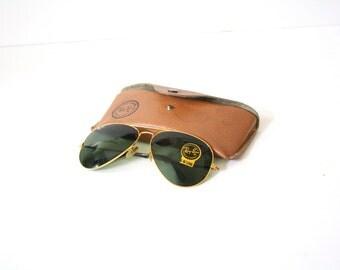 vintage ray bans 2dxk  Vintage RAY BAN aviators retro sunglasses // deadstock gold fram G-15  lenses // vintage aviators // large glasses // dark tinted sunglasses