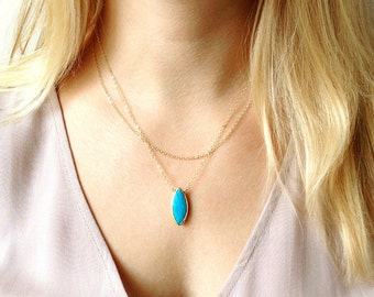 December Birthstone Necklace, Turquoise Necklace, Wife Gift, Womens Gift, Turquoise Jewelry, Friendship Jewelry, Gold Pendant Necklace
