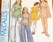McCall's 4374 Girls Empire Dress Hem Ruffle Back Tie Boho Prairie Smock Top Vintage 1970s Sewing Pattern Size 7 Chest 26 Uncut Factory Folds