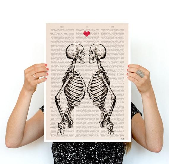 Christmas Sale Wall art Skeleton Couple gift husband, gift 1st Aniversary, gift, wall decor skeletons gifts for him, wall art, SKA003PA3