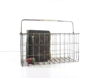 Vintage Metal Wire Basket, Industrial Storage