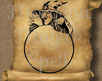 CRYSTAL BALL Witch Pagan Royalty Free Clipart Illustration Wiccan Digital Image Download Printable Graphic Clip Art Transfers Prints