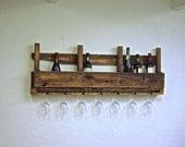 "Large Reclaimed wood pallet Wine rack rustic kitchen farmhouse Furniture oak walnut boho primitive with glass holders 48"" 12 bottle"