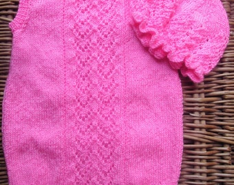 Hand knitted OOAK bright pink silk lace lacy baby girl's sleeveless romper bodysuit and ruffled mop hat, frilly beanie hat, photography prop