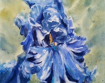 "Floral, flowers, macro, Iris, blue. Christine's Choice, Sea Power Iris Original Watercolor Painting 22"" x 22""."