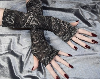 Black Paisley Arm Warmers Cotton Fingerless Gloves Gothic goth burlesque bohemian boho gypsy belly dance fusion dancing tribal gray tribe