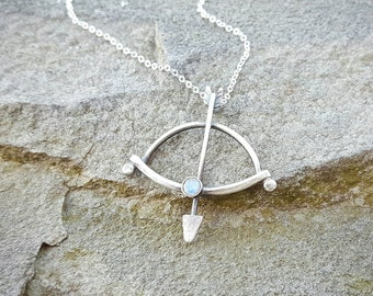BOW & ARROW Moonstone Necklace by Moondrops ///Artisan-made sterling silver /// Handcrafted gift for her /// Minimalist Jewelry