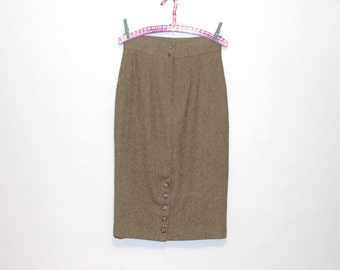 Vintage Wool Pencil Skirt / High Waist Skirt / Wiggle Skirt / Brown and Green Herringbone / Ramsay of Dublin / Made in Ireland / Medium